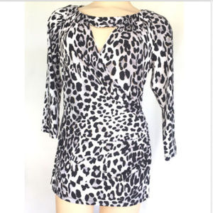 Cache Top Animal Keyhole Ruched Cheetah Black Gold